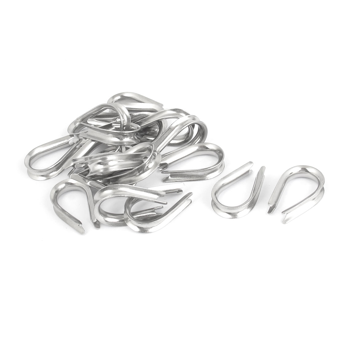 Stainless Steel 6mm Wire Rope Cable Commercial Thimbles Lifting Gear Silver Tone 20pcs
