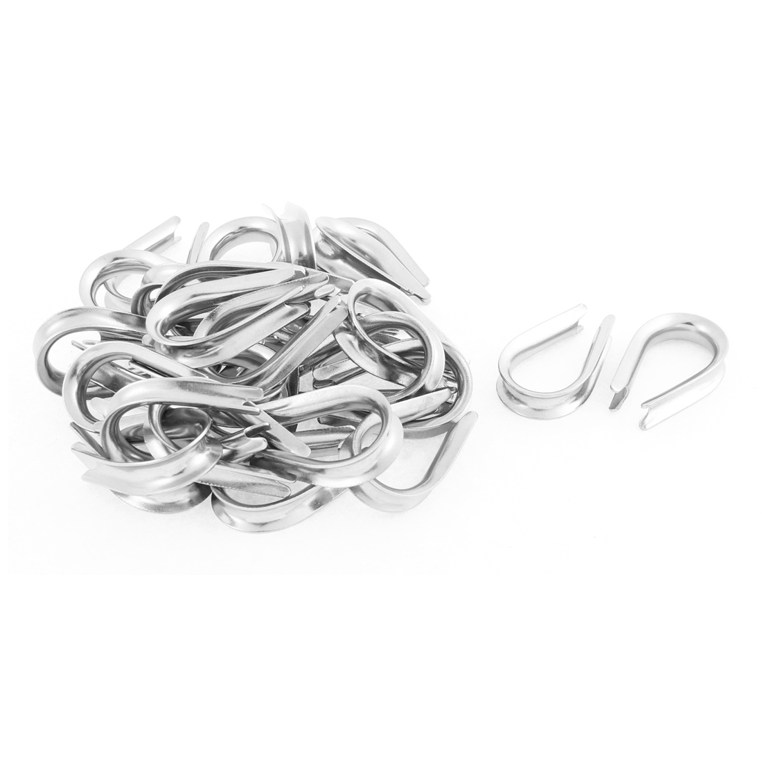 Stainless Steel 6mm Standard Wire Rope Cable Thimbles Silver Tone 30pcs