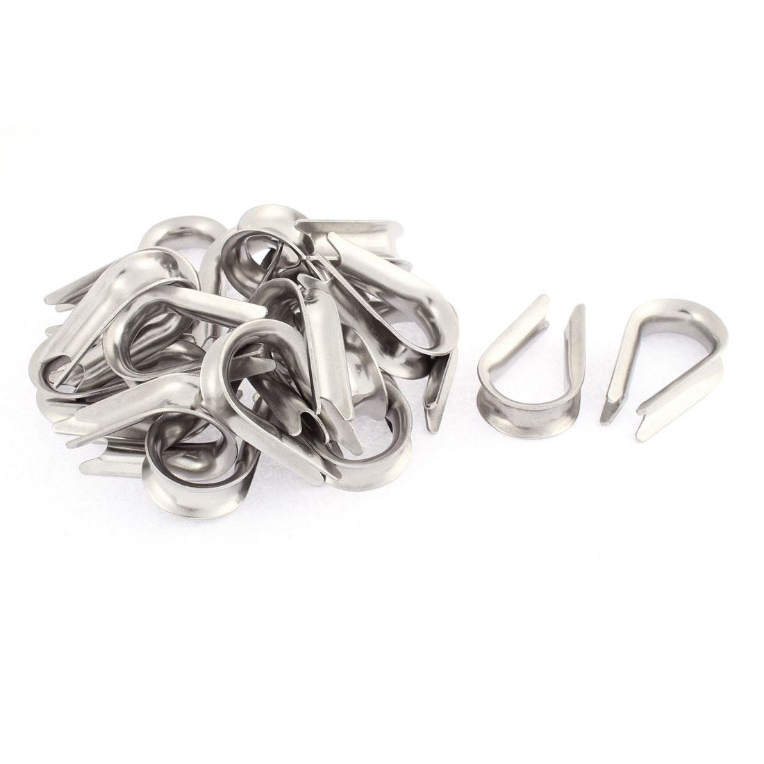 Stainless Steel 10mm Standard Wire Rope Cable Thimbles Silver Tone 20pcs