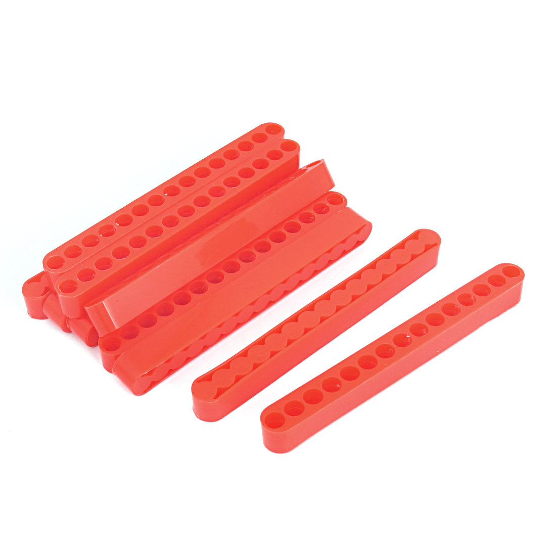 126mm Length 7mm Dia 15 Holes Screwdriver Bit Holder Block Red 10 Pcs