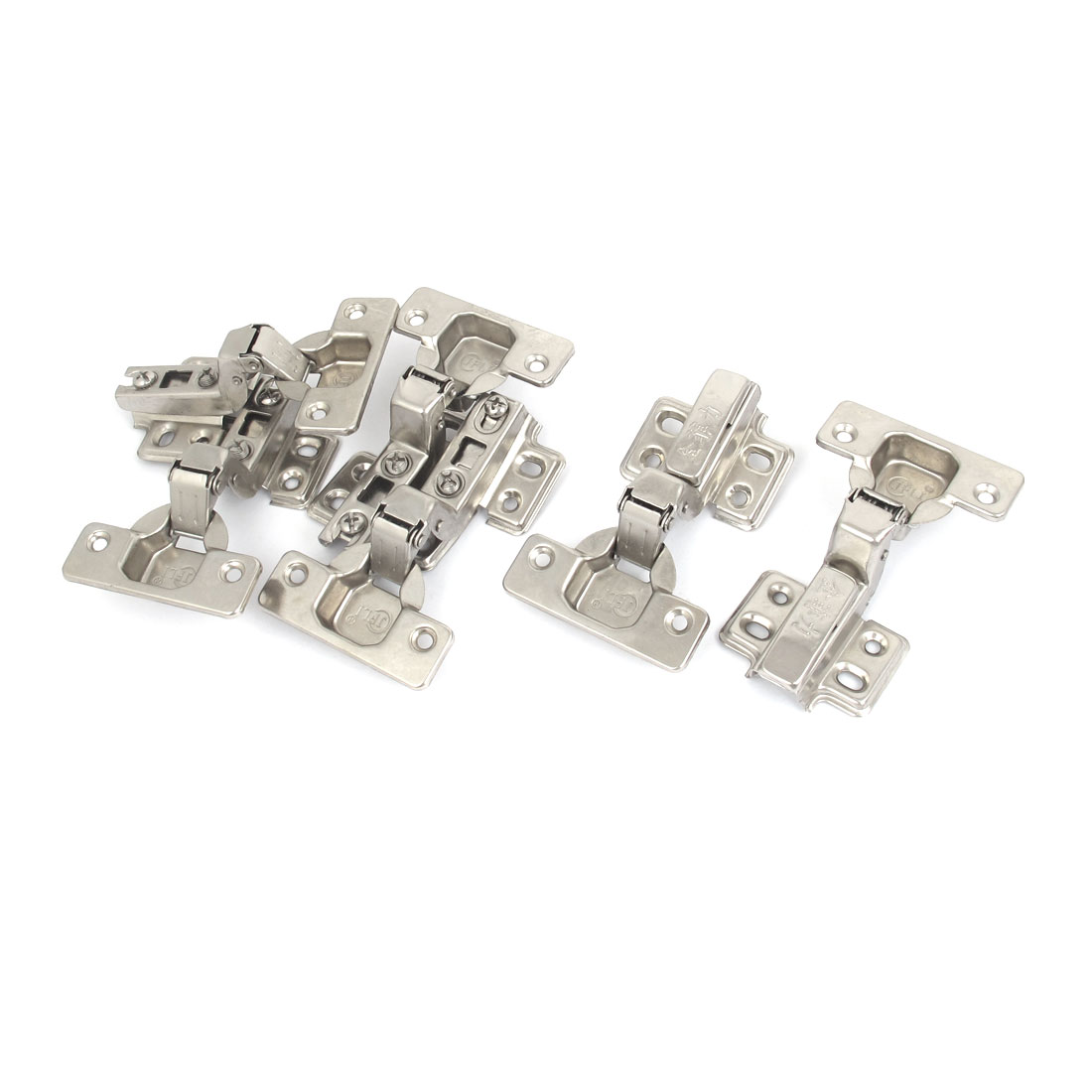 Face Frame Concealed Self Closing Metal Cabinet Hinges Silver Tone 6pcs