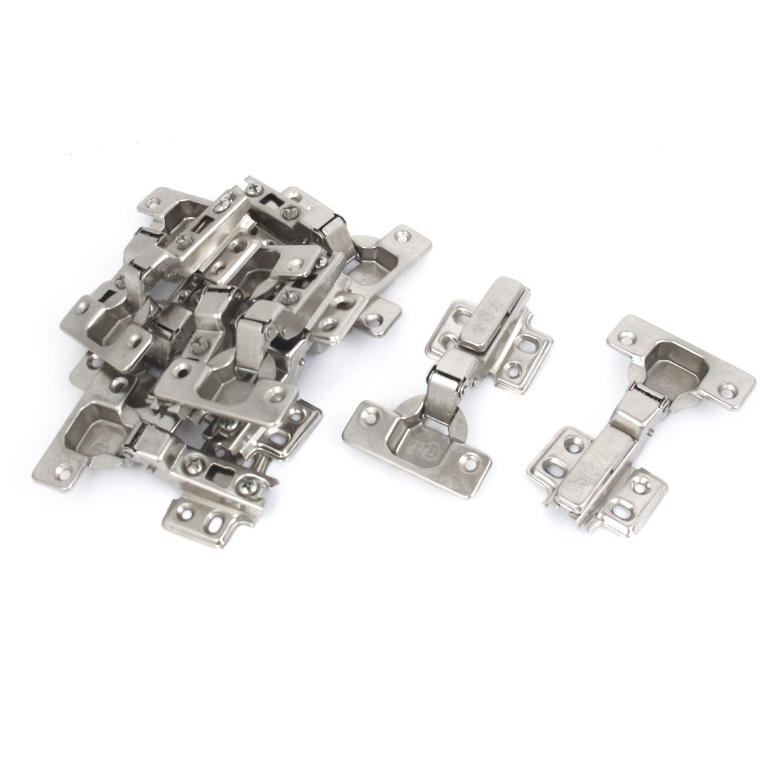 Face Frame Concealed Self Closing Metal Cabinet Hinges Silver Tone 10pcs