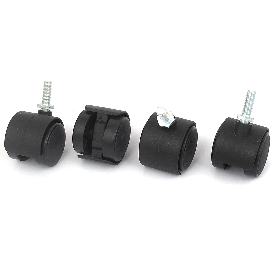Office Chair Swivel Twin Wheel Caster M6x15mm Threaded Stem Black 4pcs