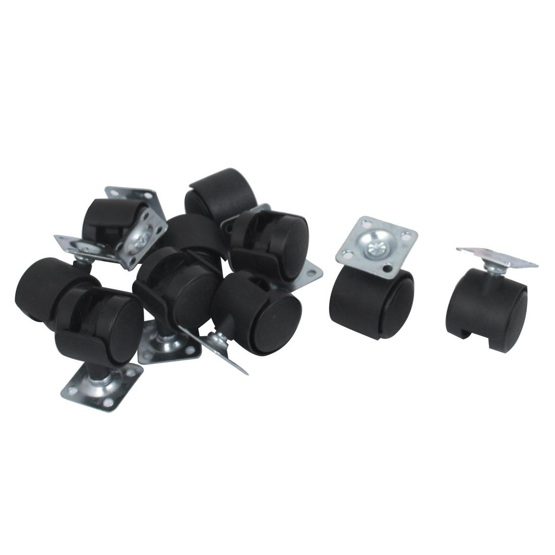 "1"" Dia Plastic Wheel Metal Top Plate Swivel Ball Bearing Casters 10 Pcs"