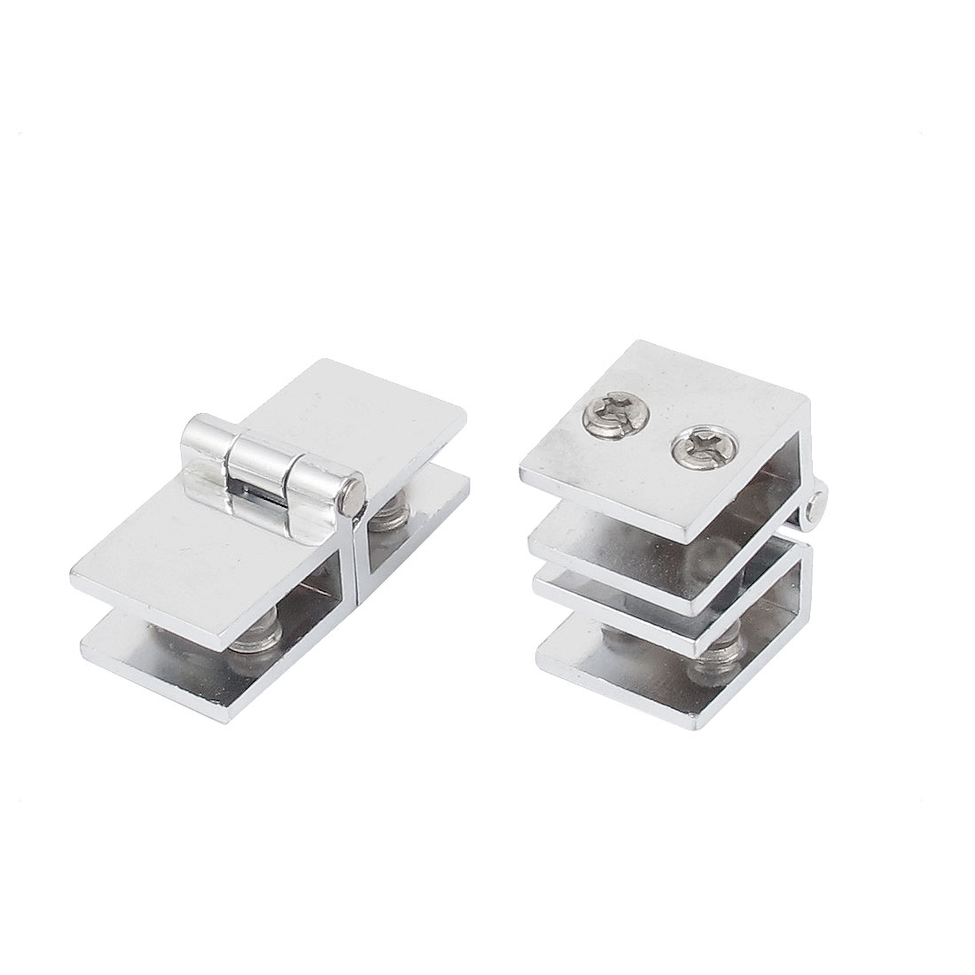 8mm Thickness 180 Degree Adjustable Metal Glass Shelf Clip Clamp Hinge 2pcs