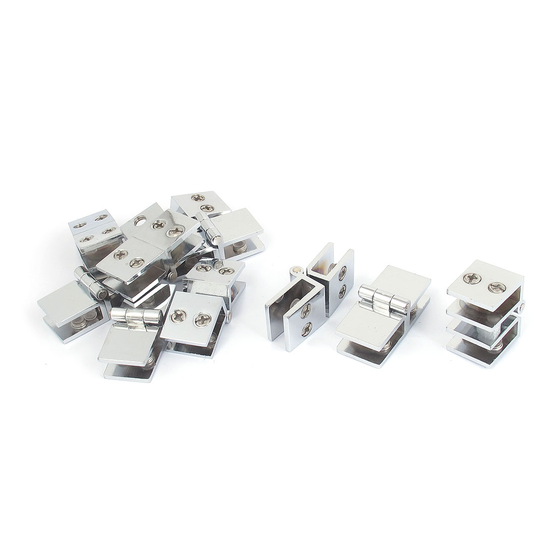 8mm Thickness 180 Degree Adjustable Metal Glass Shelf Clip Clamp Hinge 10pcs