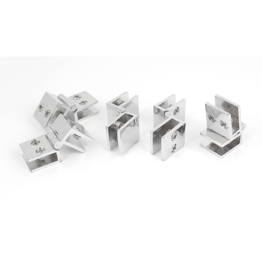 Bathroom Shower 5mm-8mm Adjustable Collapsible Rectangle Clamp Clip Door Hinge 5pcs