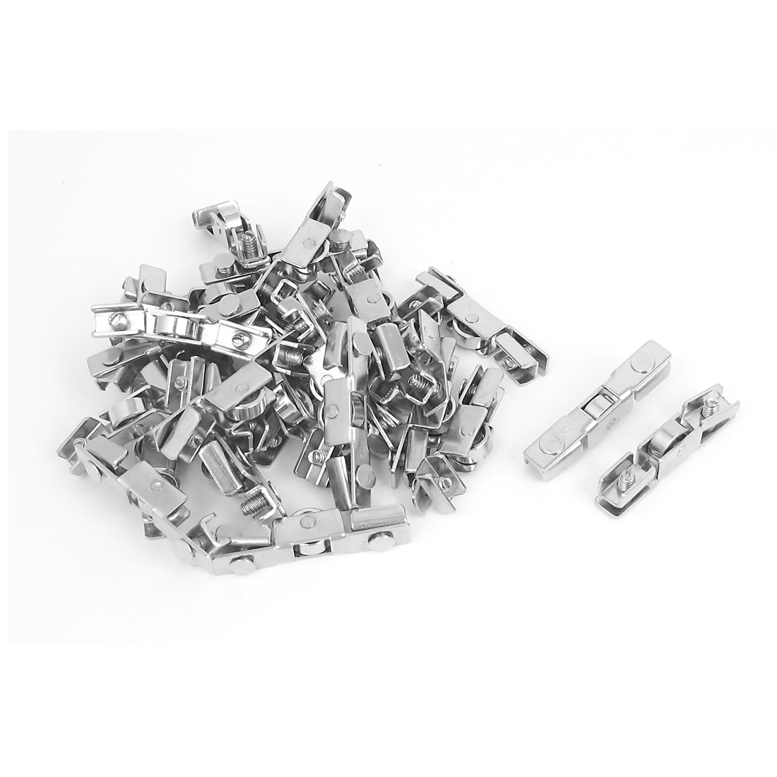 43mm Length Adjustable Metal Sliding Door Single Roller Wheel Silver Tone 30pcs