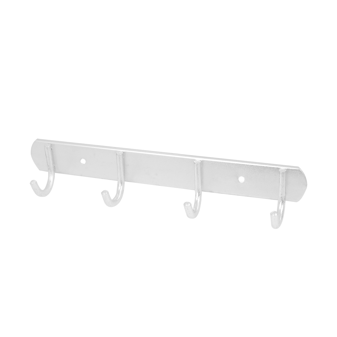 Aluminum 4-Hook Wall-Mount Rack Silver Tone 27cm Long