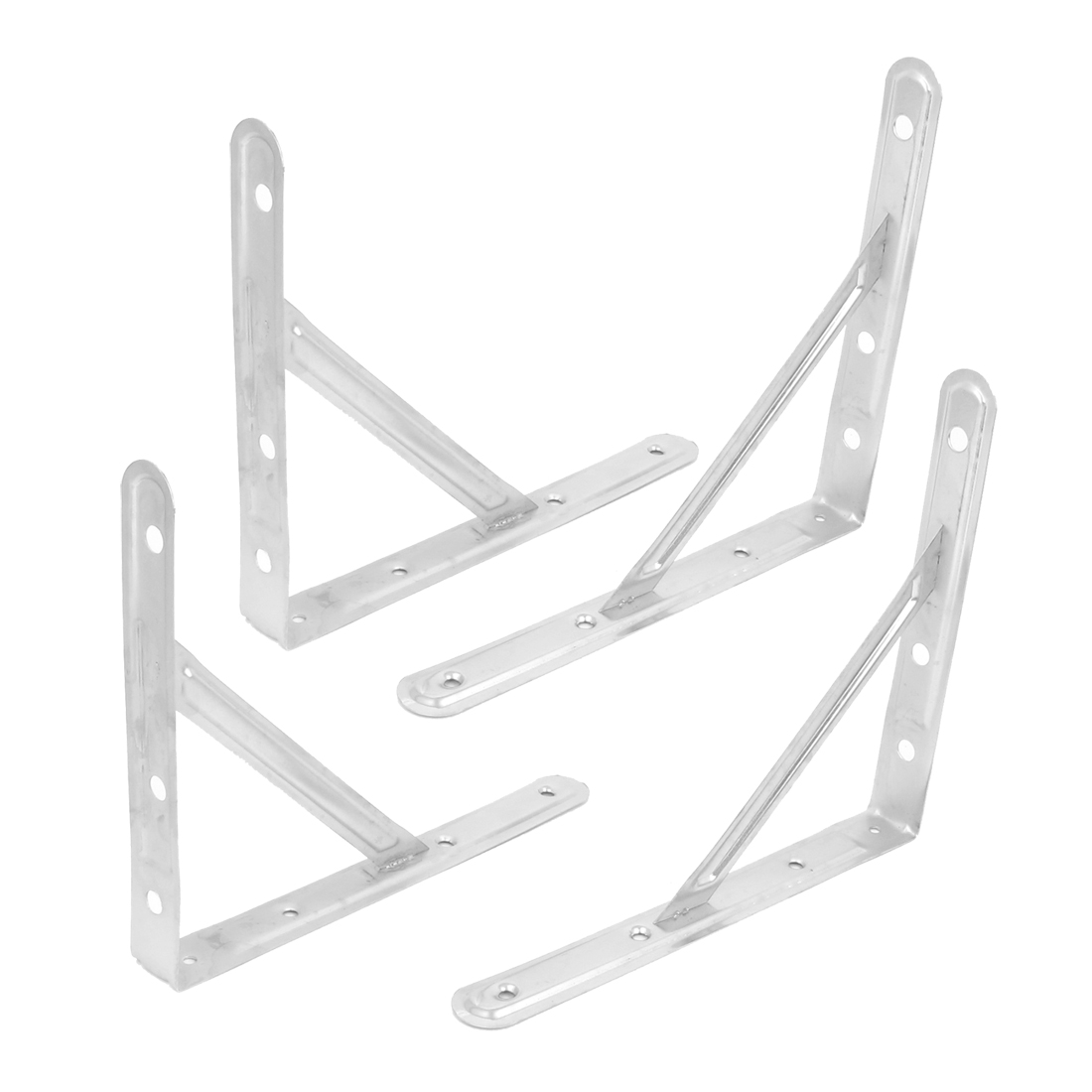 "10"" Triangle Wall Mounted Stainless Steel Support Shelf Bracket Frame 4pcs"