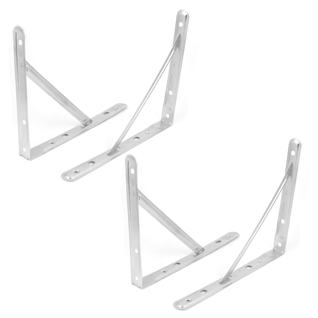 "12"" Triangle Wall Mounted Stainless Steel Support Shelf Bracket Frame 4pcs"