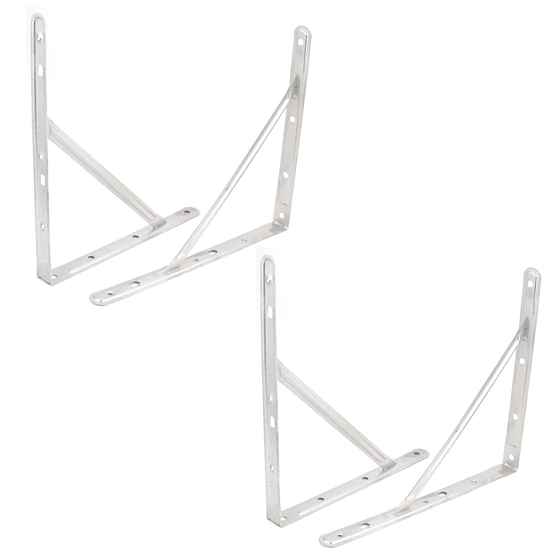 "14"" Triangle Wall Mounted Stainless Steel Support Shelf Bracket Frame 4pcs"