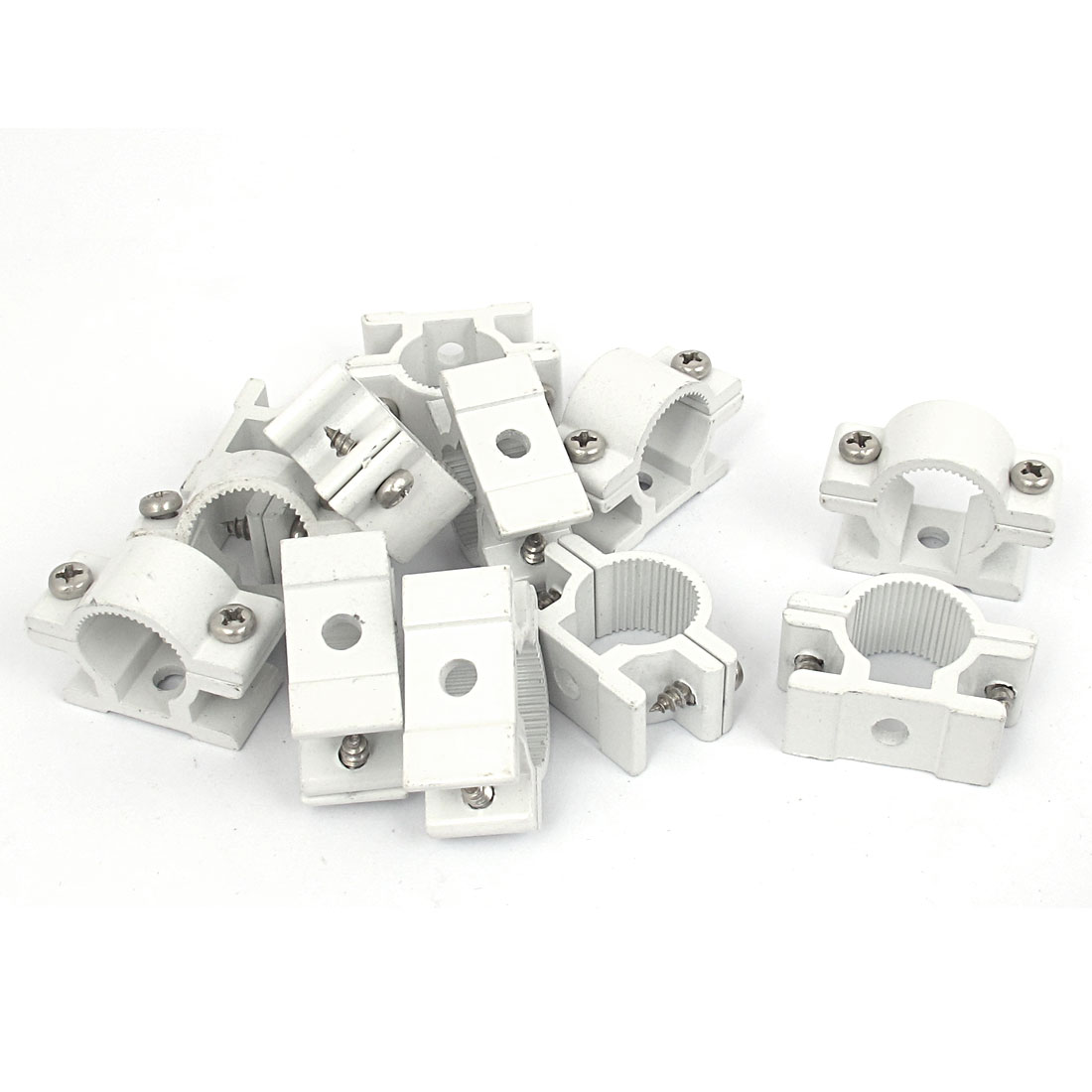 18mm Dia Wall Mounted Aluminium Alloy Pipe Clip Clamp Fastener 12pcs