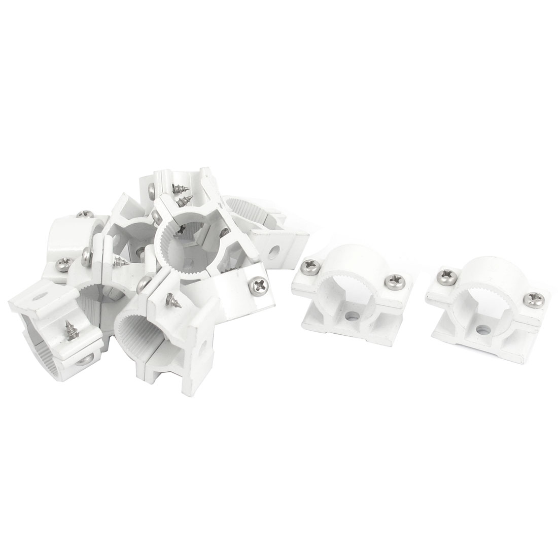 12 Pcs 20mm Diameter Water Supply Pipe Clamps Screw Clips Fitting White