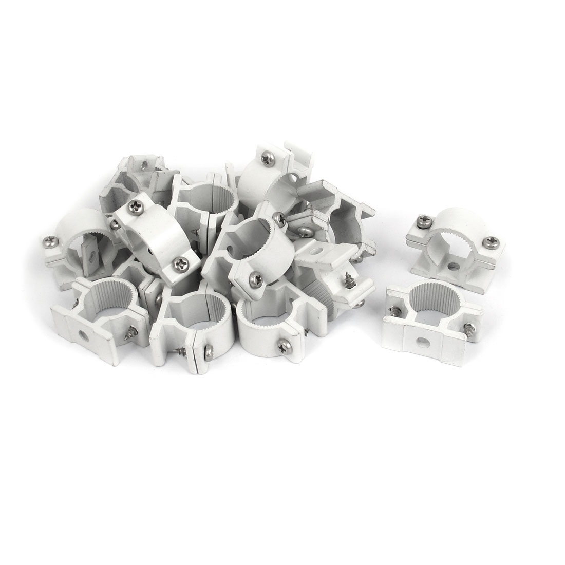 20mm Dia Wall Mounted Aluminium Alloy Pipe Clip Clamp Fastener 20pcs