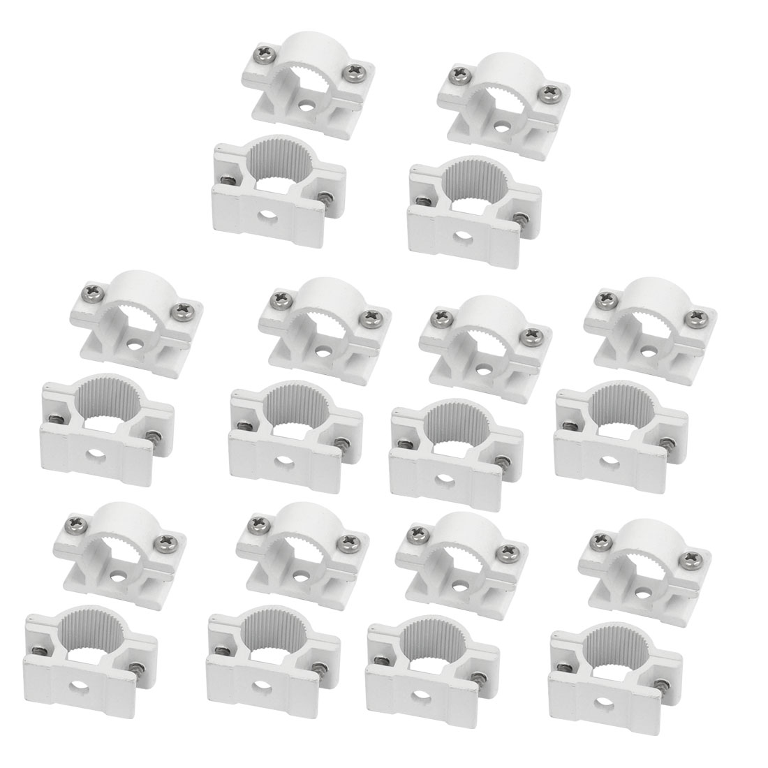 25mm Dia Plastic Tube Water Supply Pipe Clamps Clips Connectors White 20Pcs