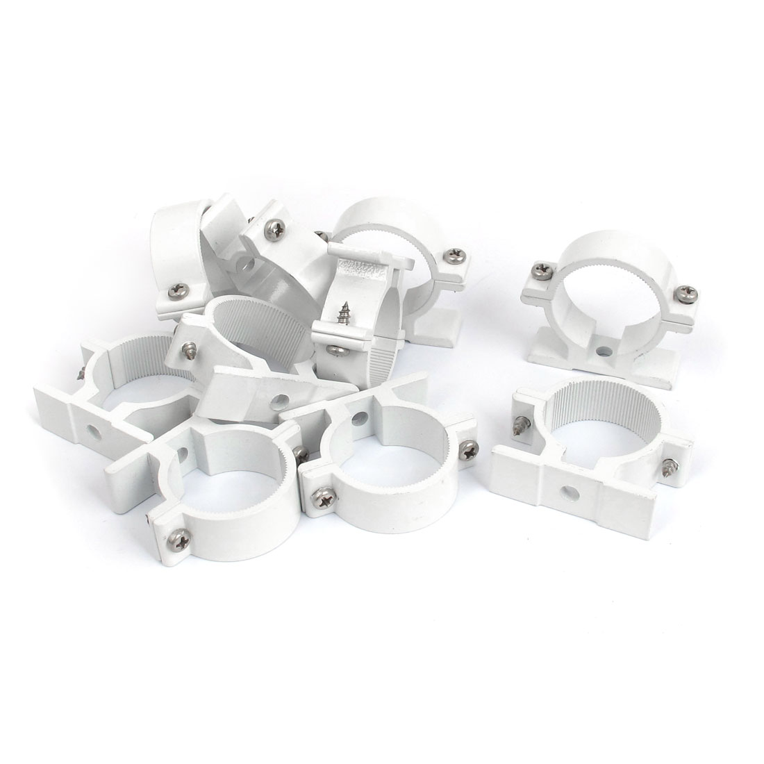 10 Pcs 32mm Dia Water Supply Pipe Clamps Screw Clips Fitting White