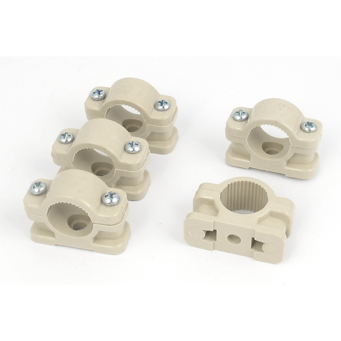 18mm Dia Wall Mounted Plastic Pipe Clip Clamp Fastener Khaki 5pcs