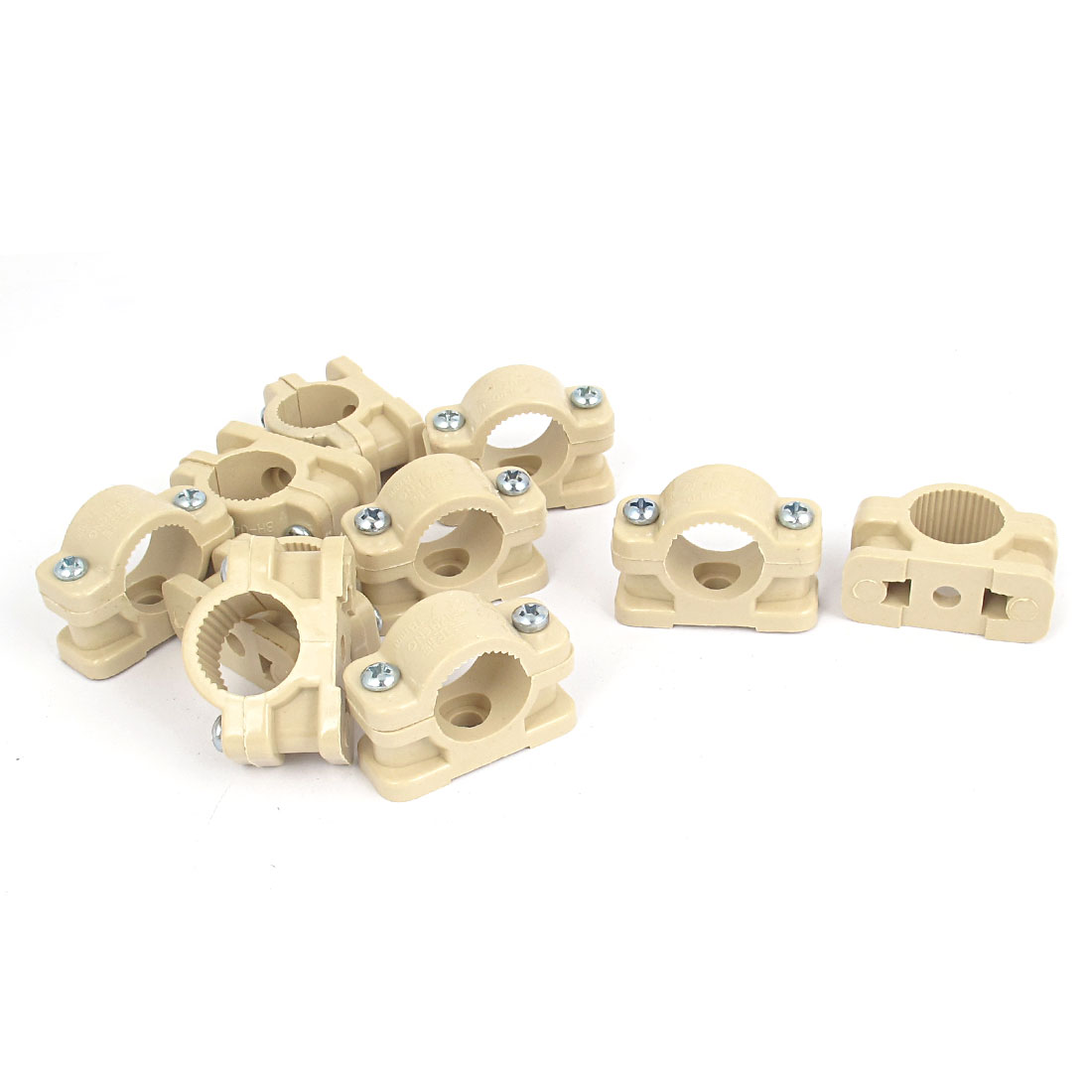 18mm Dia Wall Mounted Plastic Pipe Clip Clamp Fastener Khaki 10pcs