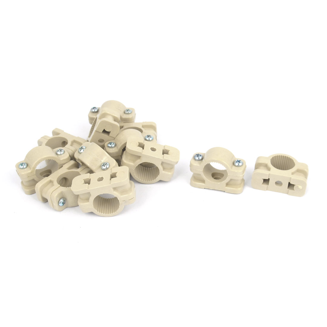 18mm Dia Wall Mounted Plastic Pipe Clip Clamp Fastener Khaki 12pcs