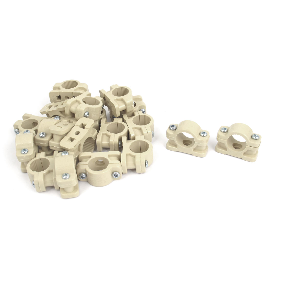 20 Pcs 18mm Diameter Water Supply Pipe Clamps Screw Clips Fitting Beige