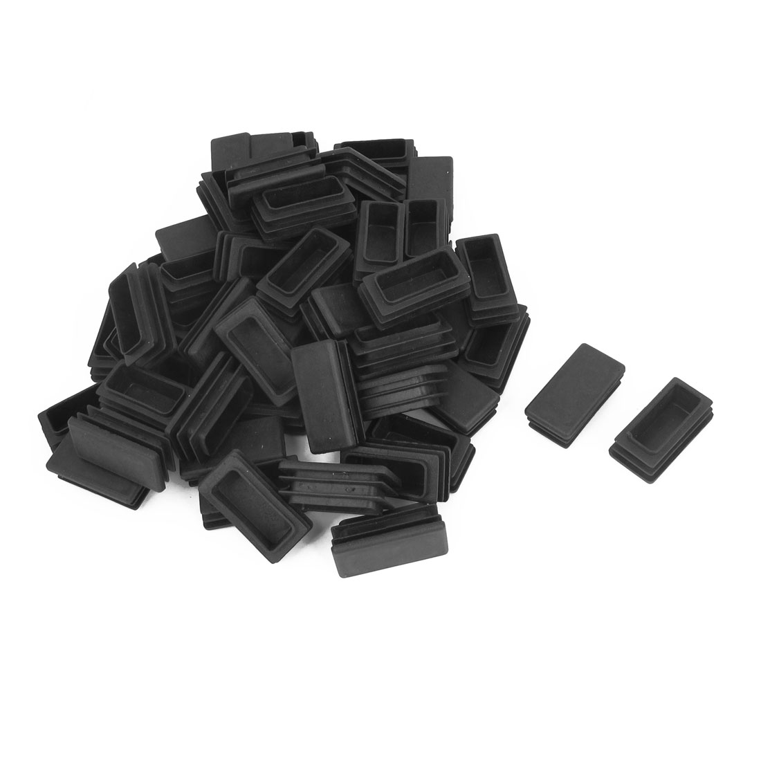 100pcs Black Plastic Rectangle Blanking End Tube Caps Cover Inserts 20mmx40mm