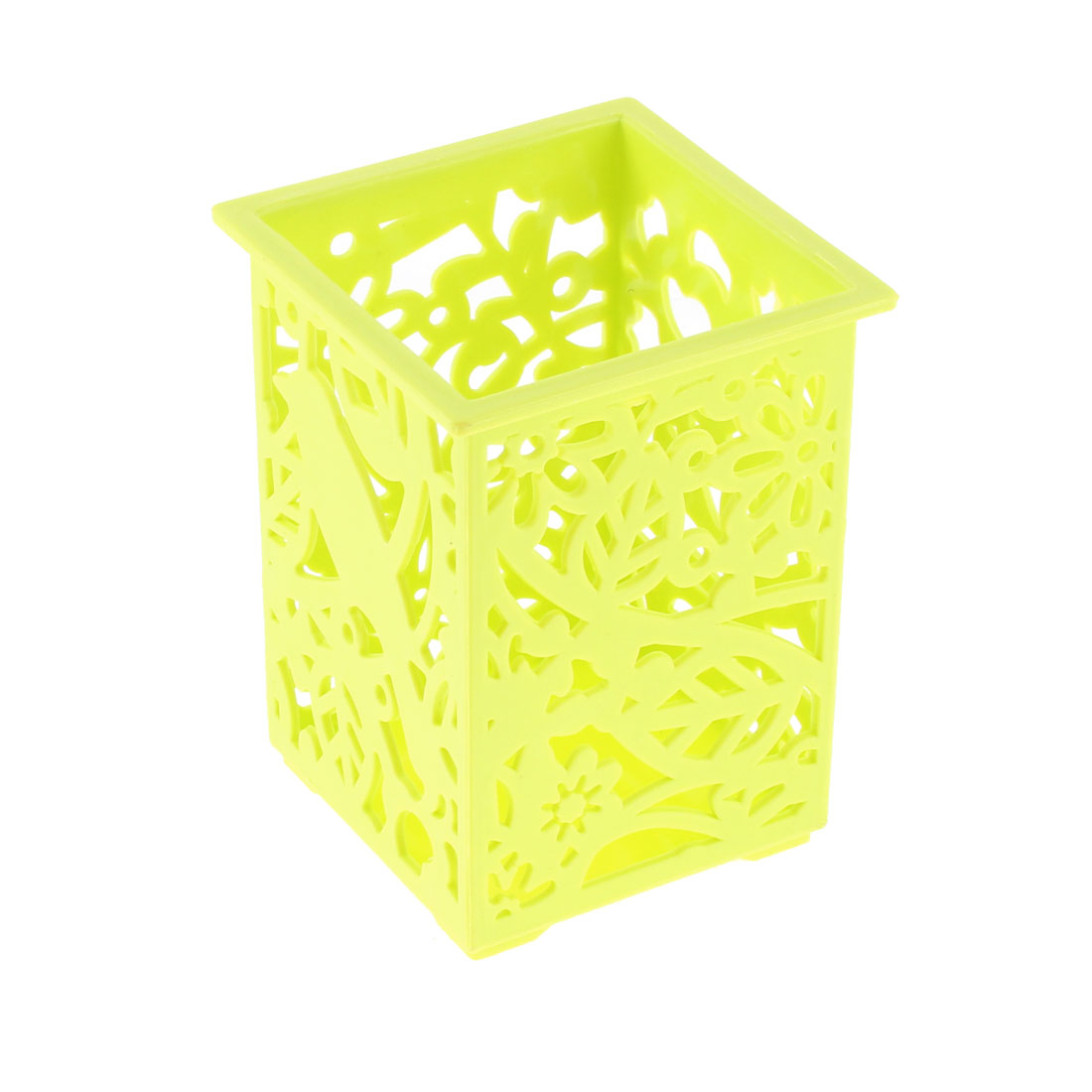 Office Plastic Hollow Out Flowers Design Pencil Pen Holder Green