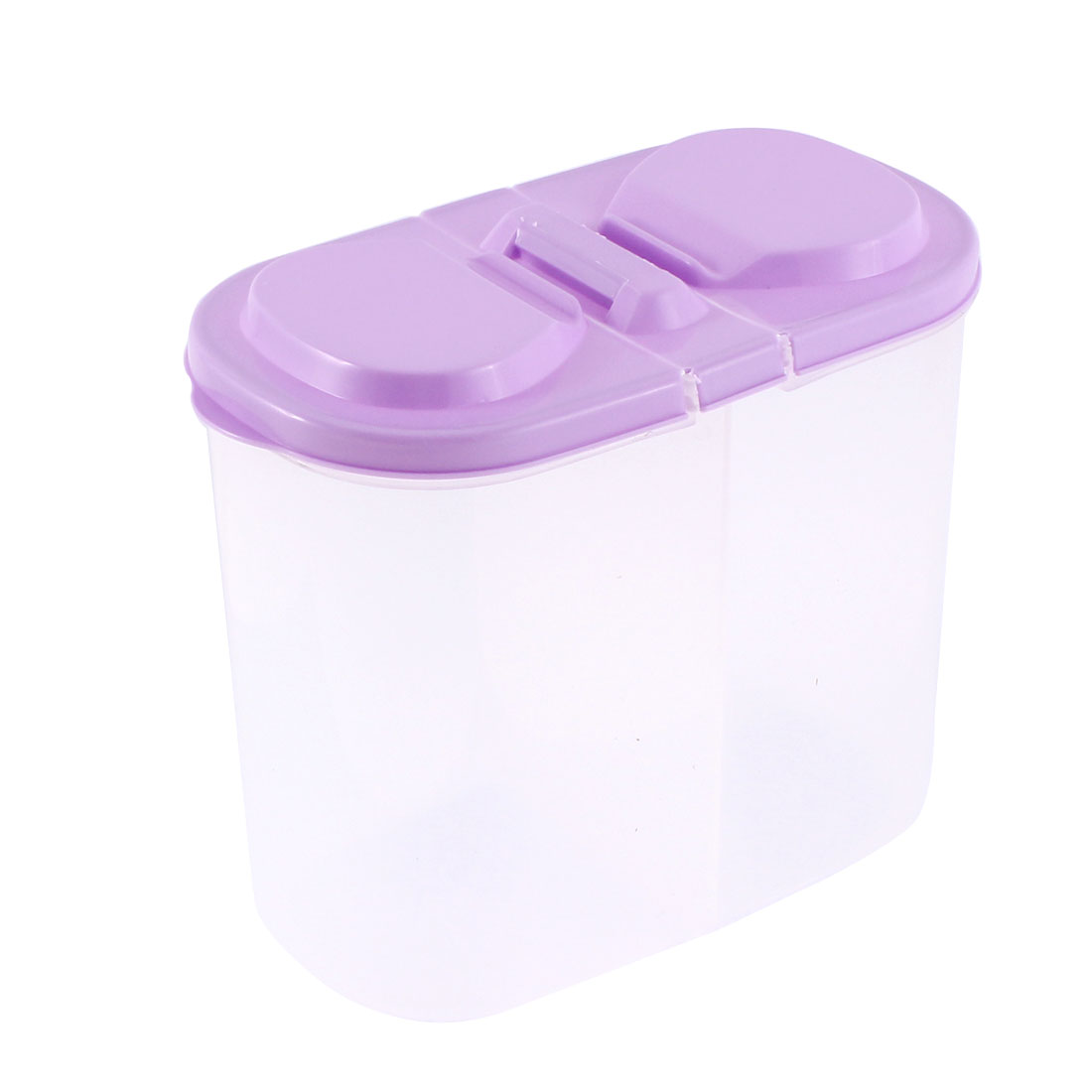Home Plastic 2 Compartments Food Storage Container 15cm Height Purple