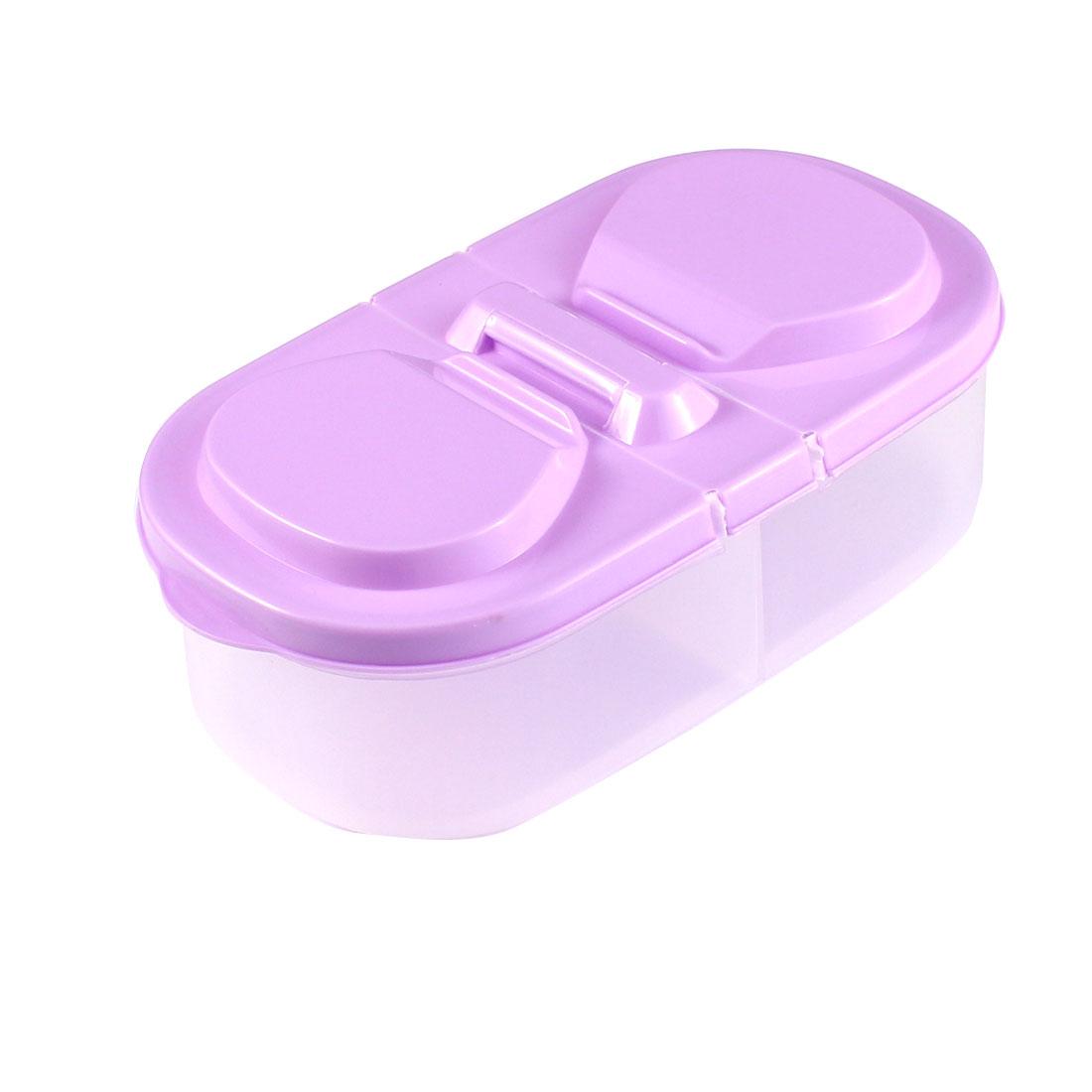 Household Plastic 2 Compartments Food Storage Box Light Purple