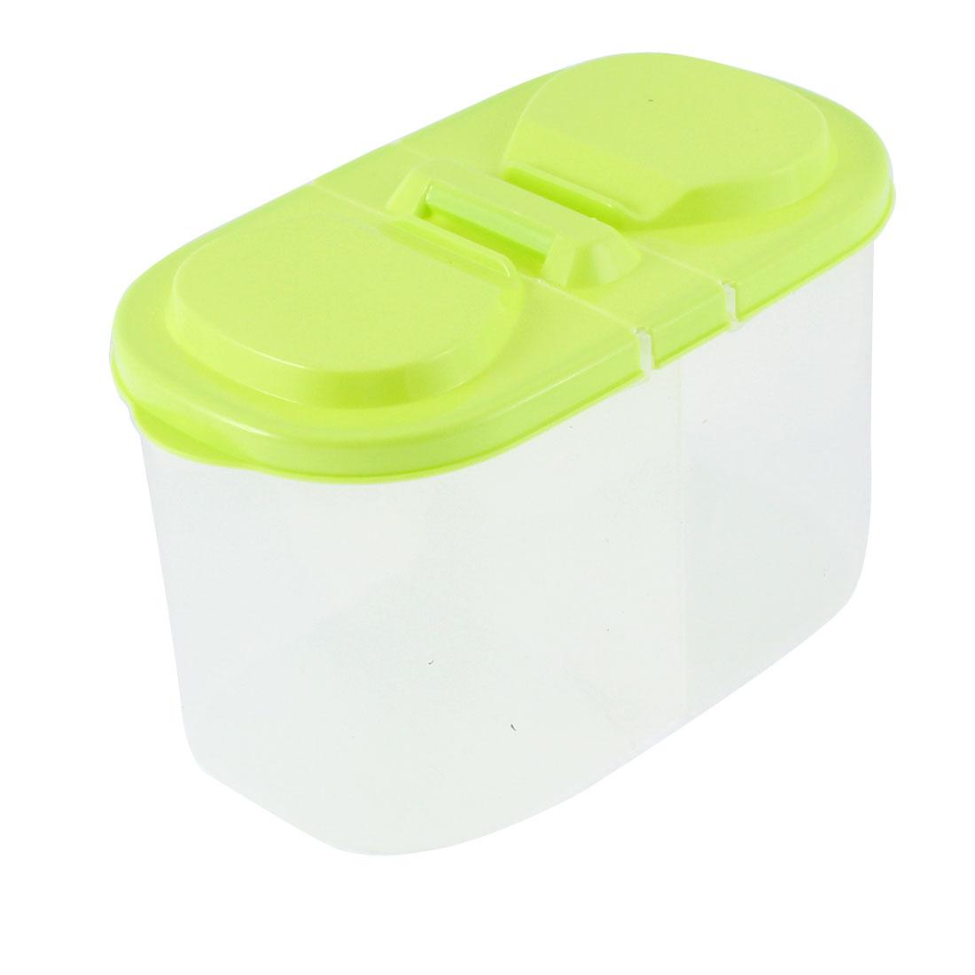 Kitchen Plastic 2 Compartments Food Storage Box 185mmx95mmx110mm Green