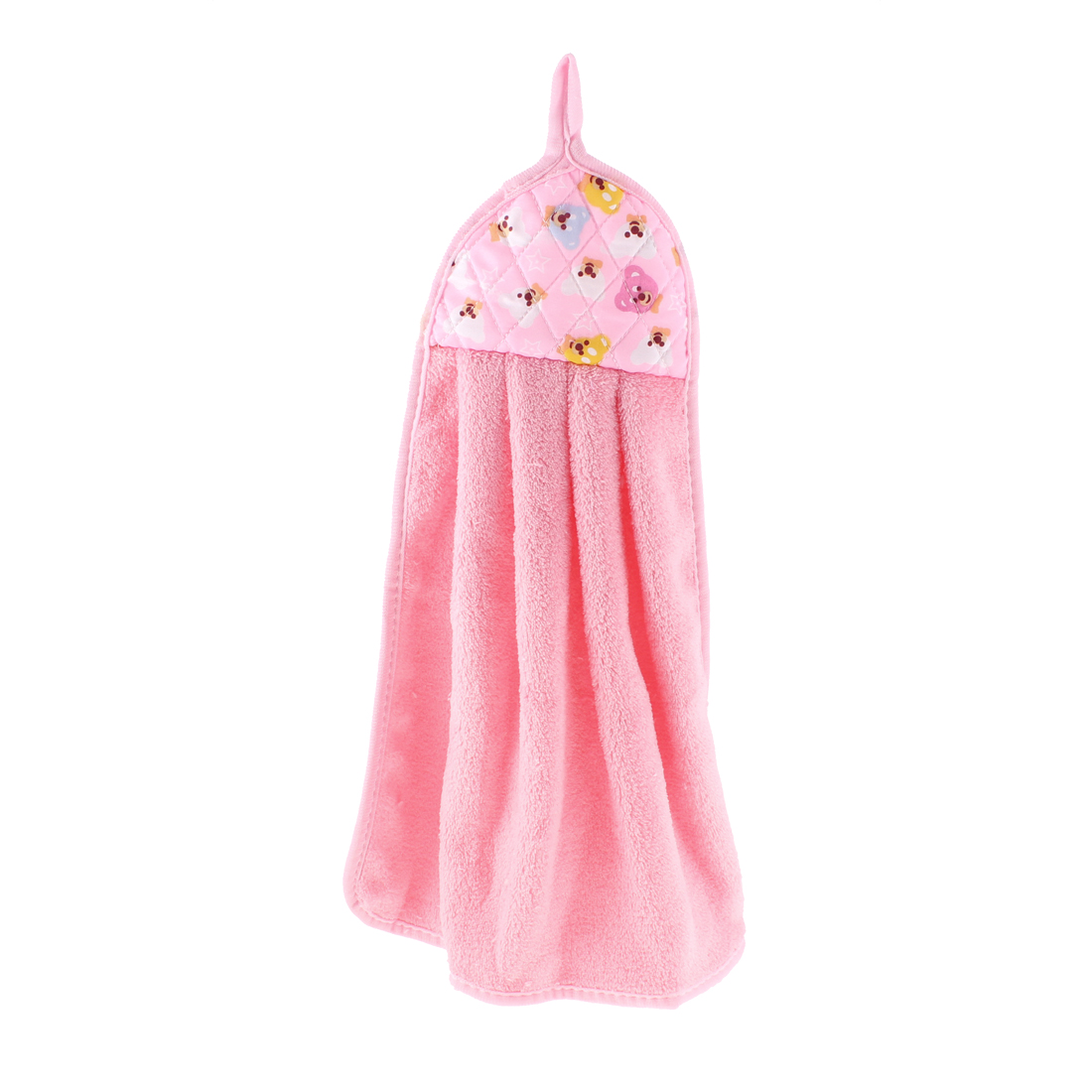 Kitchen Bears Printed Wall Hanging Cleaning Hand Drying Towel Pink