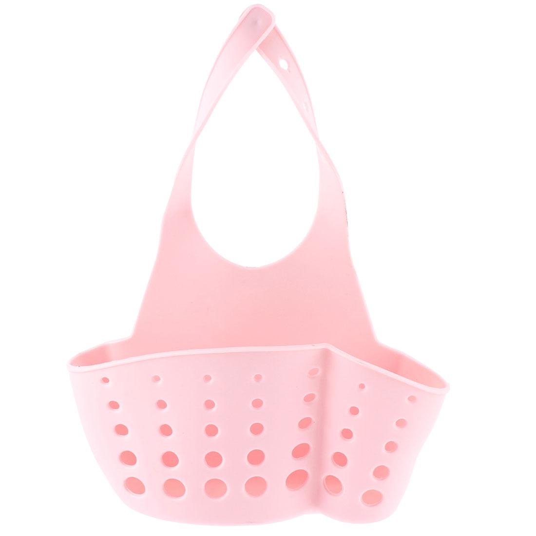 Bathroom PVC Faucet Dish Washing Tool Strainers Holder Basket Pink