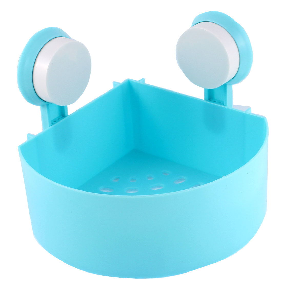 Bathroom Plastic Fan Shaped Wall Corner Suction Cup Organizer Shelf Blue