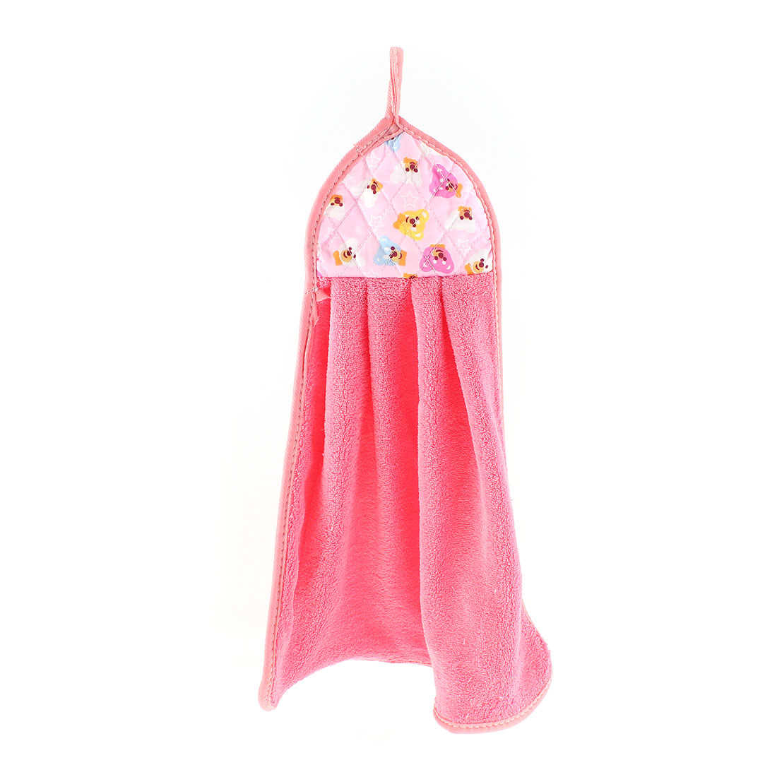 Bears Printed Wall Hanging Cleaning Hand Drying Towel Watermelon Color