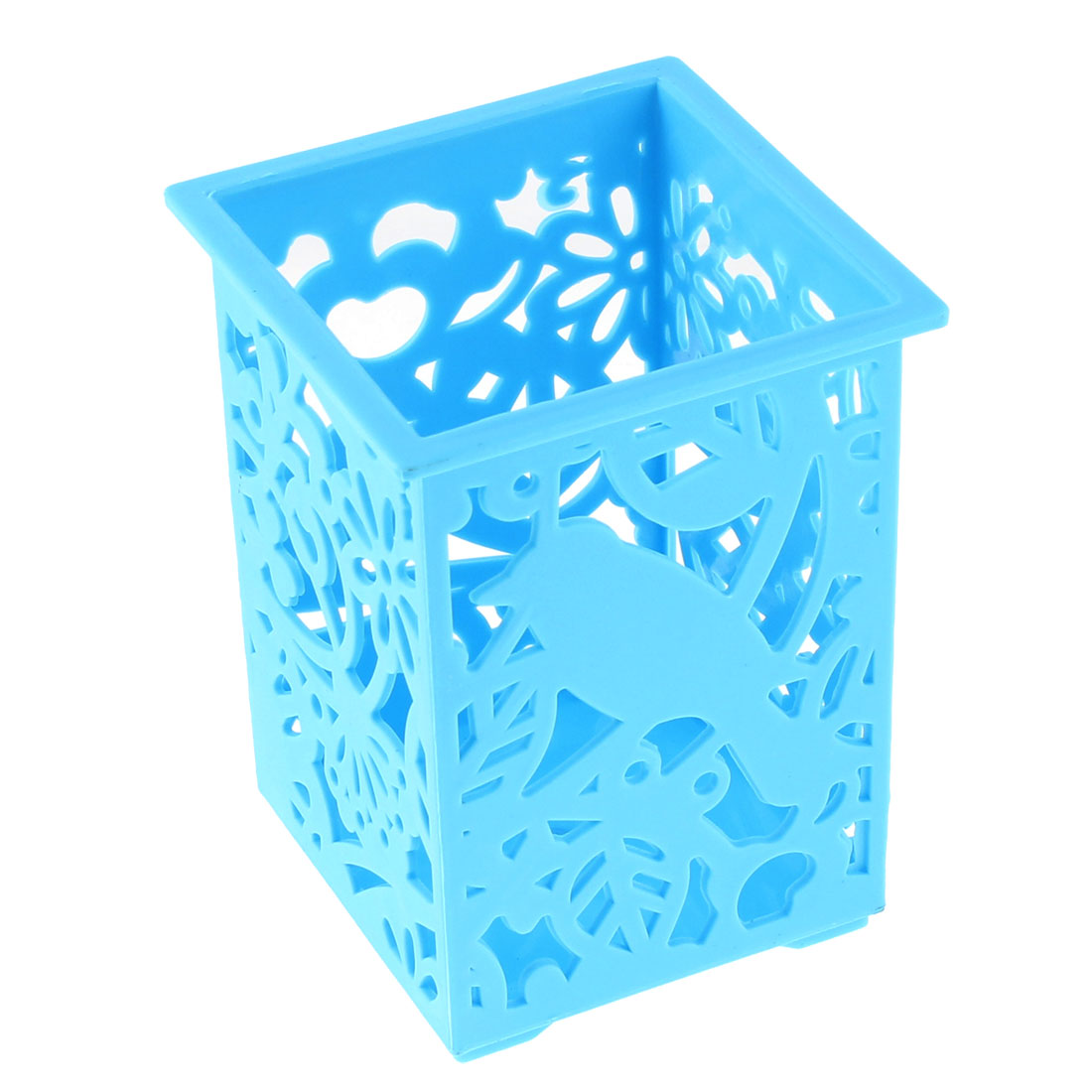 Desk Plastic Hollow Out Flowers Design Pencil Pen Holder Container Blue
