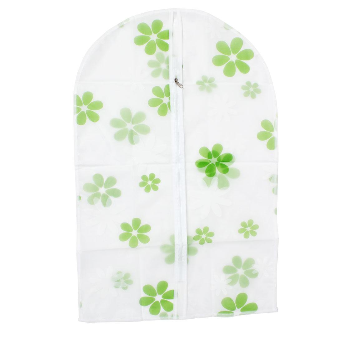 "Clothes Suit Dress PEVA Flower Pattern Zip Up Dustproof Cover Bag 27"" Length"