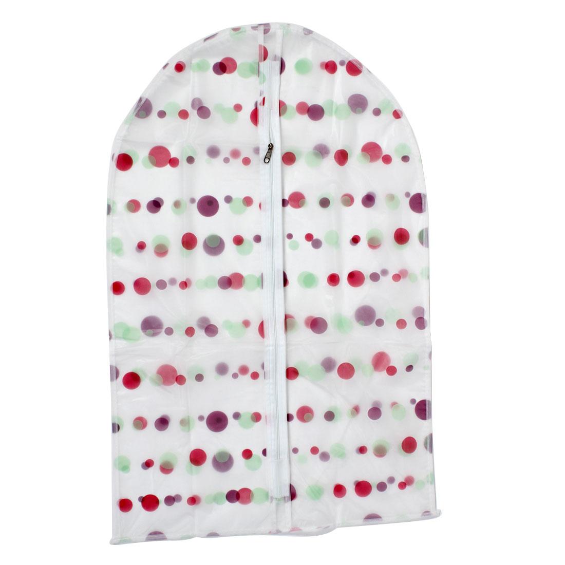 "Clothes Suit Garment PEVA Dots Printed Zip Up Dustproof Cover Bag 27"" Length"