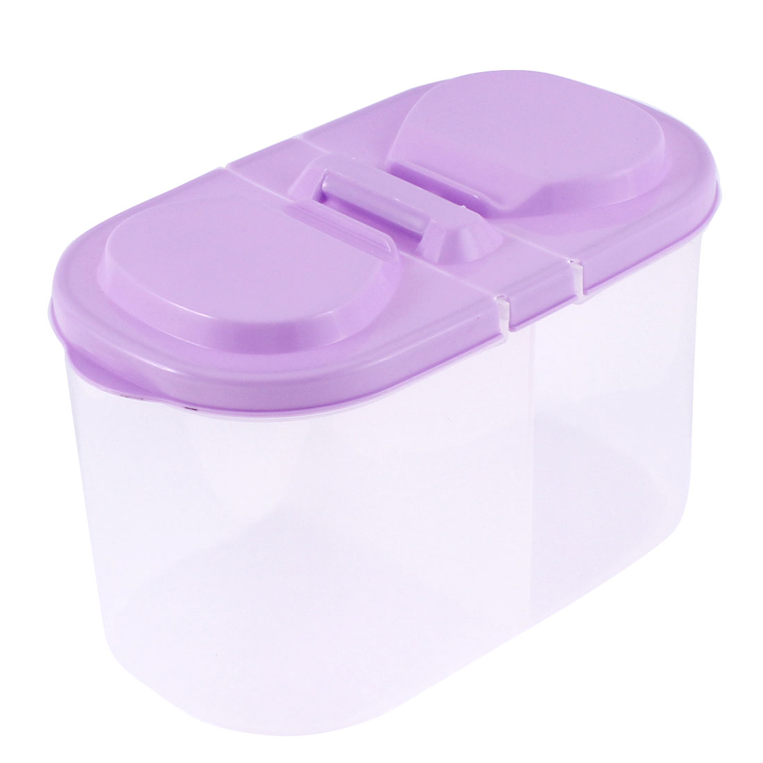 Office Plastic 2 Compartments Food Storage Box 185mmx95mmx110mm Purple