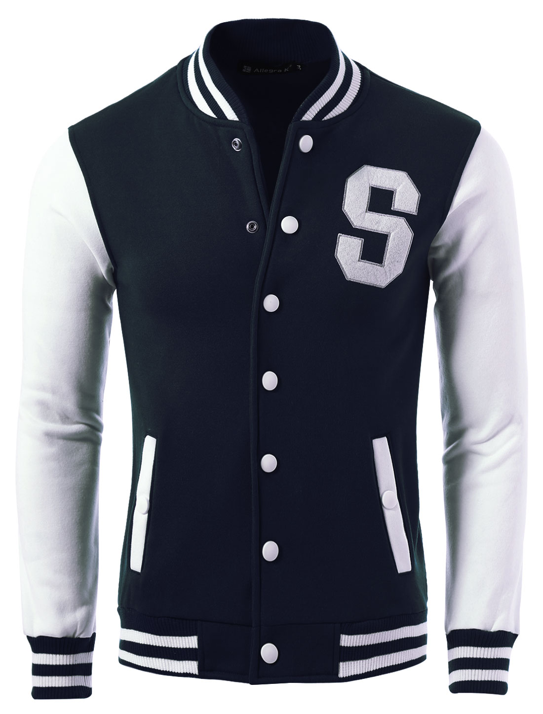 Men Letter Stitching Snap Buttons Casual Baseball Jacket Navy Blue S