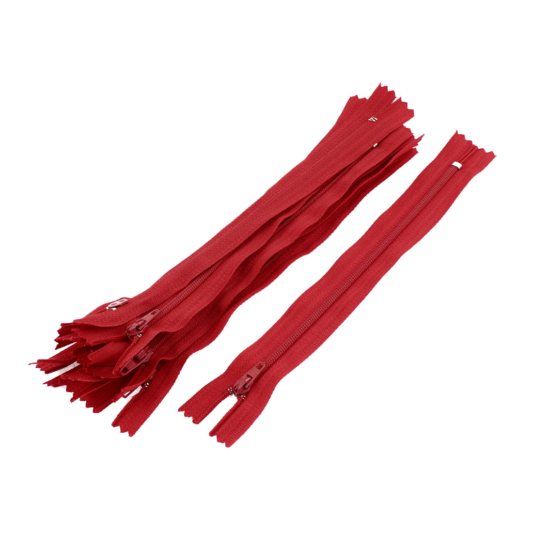 Dress Pants Closed End Nylon Zippers Tailor Sewing Craft Tool Red 18cm 10 Pcs