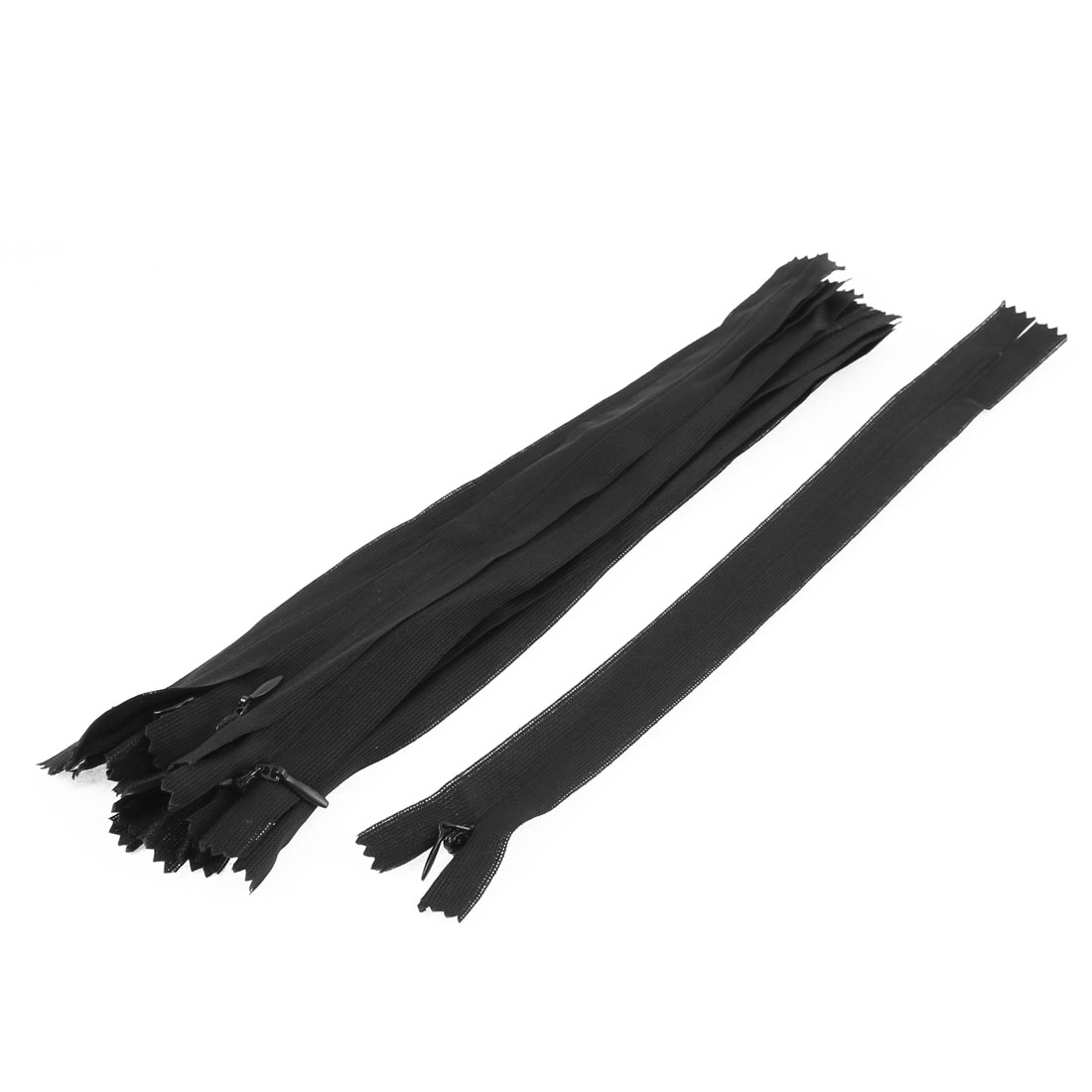 Clothes Invisible Nylon Coil Zippers Tailor Sewing Craft Tool Black 25cm 10 Pcs