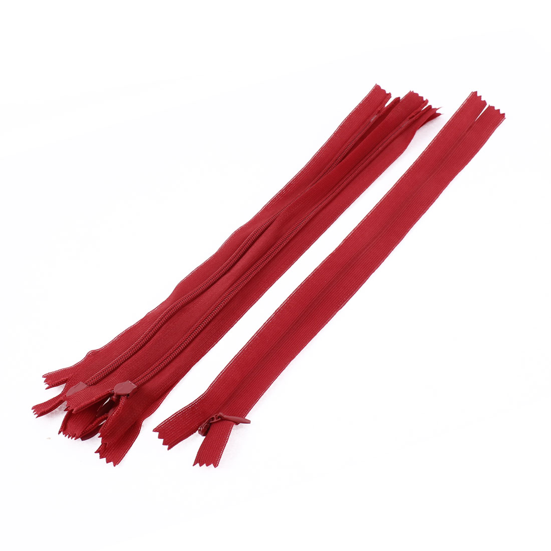 Clothes Invisible Nylon Coil Zippers Tailor Sewing Craft Tool Red 25cm 5 Pcs