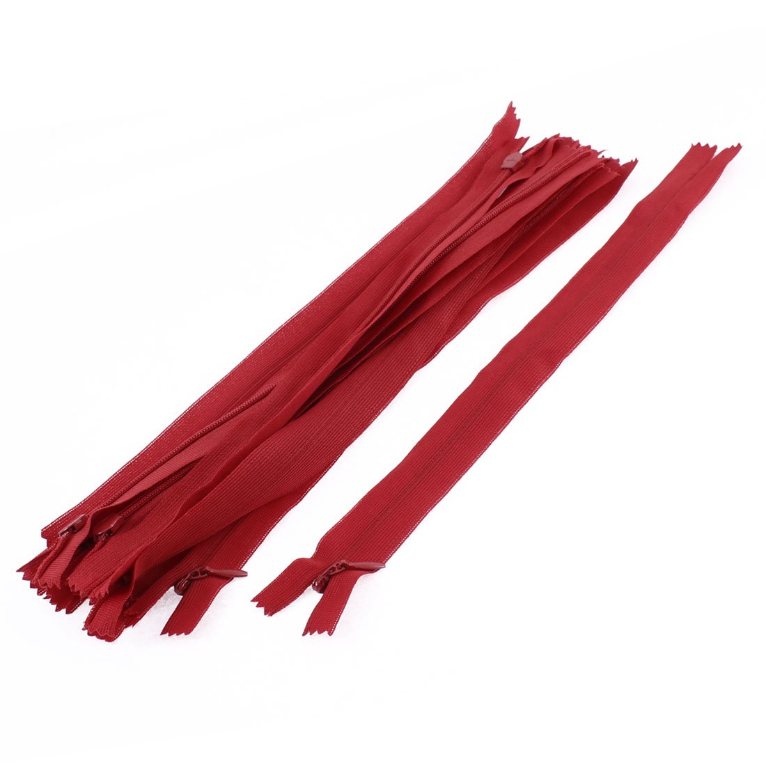 Clothes Invisible Nylon Coil Zippers Tailor Sewing Craft Tool Red 25cm 10 Pcs