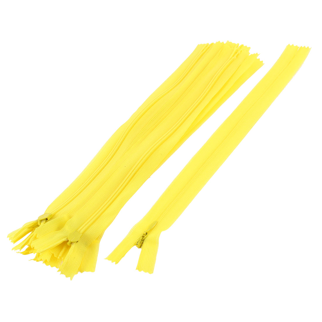Clothes Invisible Nylon Coil Zippers Tailor Sewing Craft Tool Yellow 25cm 10 Pcs