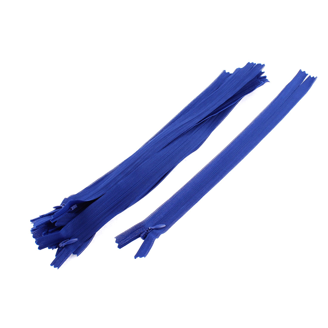 Clothes Invisible Nylon Coil Zippers Tailor Sewing Craft Tool Blue 25cm 10 Pcs