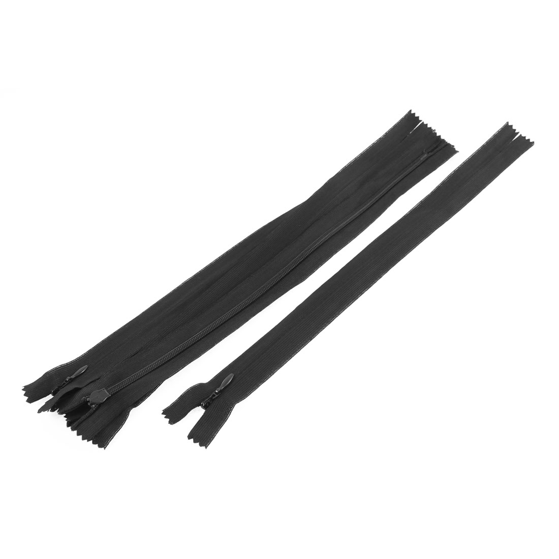 5 Pcs 12-inch Long Black Nylon Zippers Zips for Clothes