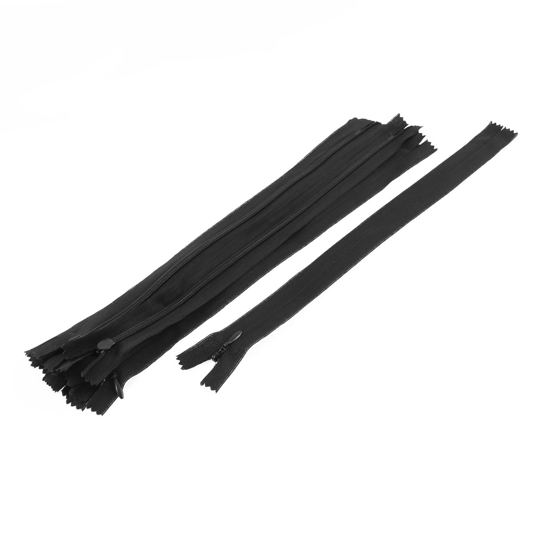 10 Pcs Black 30cm Length Nylon Zippers Zips for Clothes