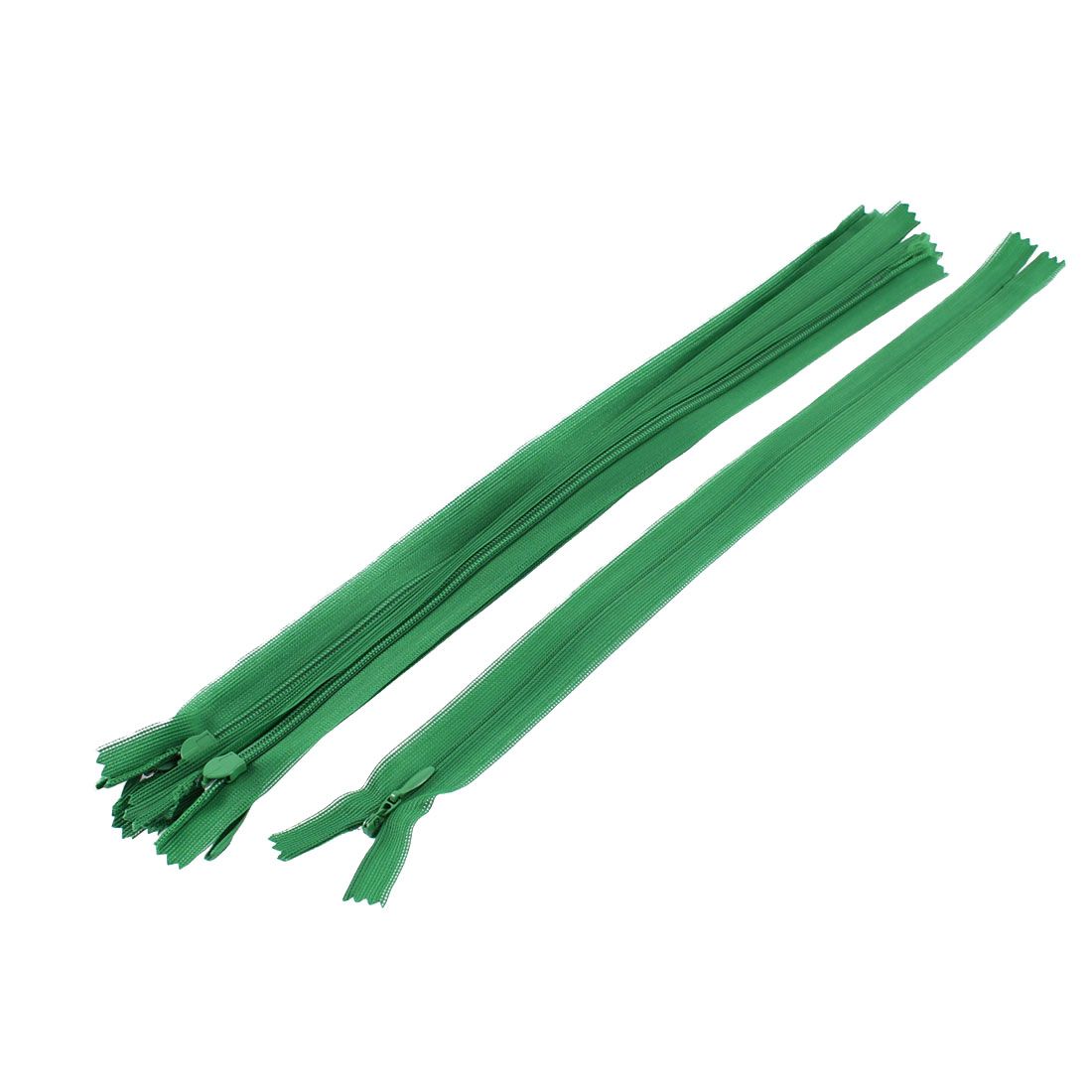 5 Pcs 12-inch Long Green Nylon Zippers Zips for Clothes