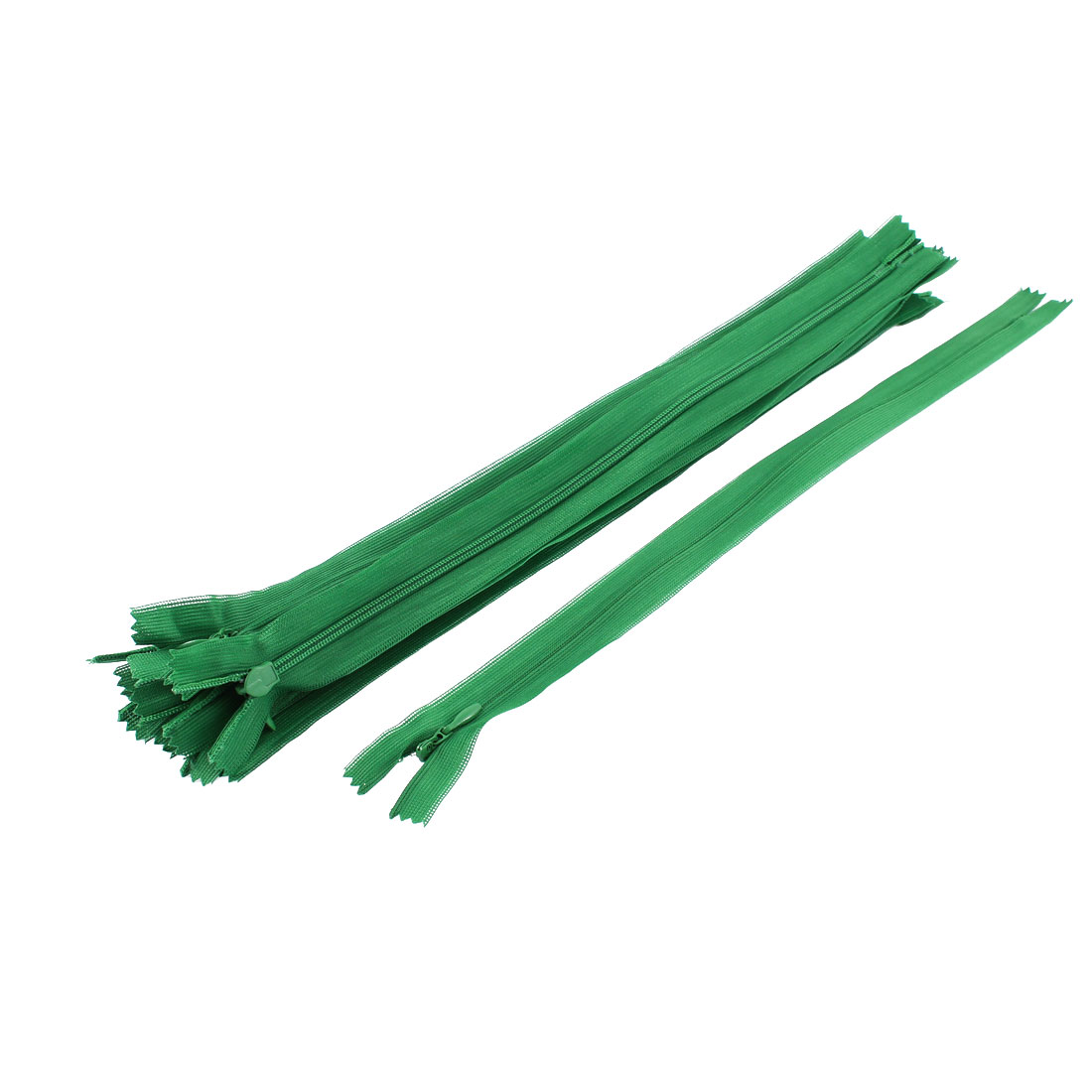 10 Pcs Green 30cm Length Nylon Zippers Zips for Clothes