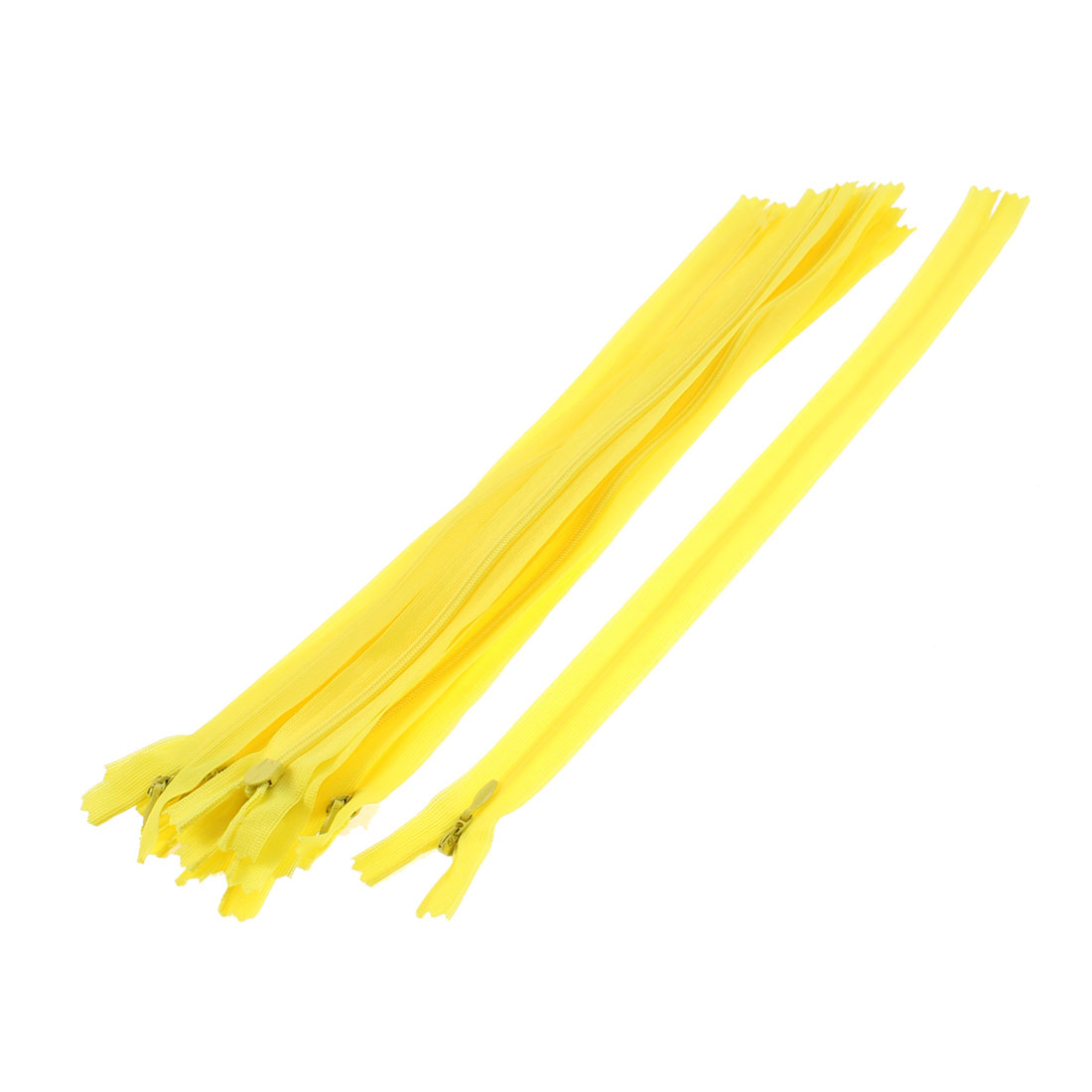 10 Pcs Yellow 30cm Length Nylon Zippers Zips for Clothes
